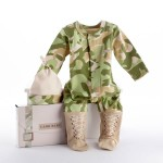 """""""Big Dreamzzz"""" Baby Camo Two-Piece Layette Set in """"Backpack"""" Gift Box (Personalization Available)"""