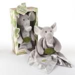 """Ekko the Elephant"" Little Expeditions Plush Rattle Lovie with Crinkle Leaf"