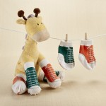 """Herbie in Hightops"" Plush Giraffe and 2 Pair of Socks for Baby"
