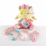 """Clover the Closet Monster"" Knit Baby Socks and Plush Monster Gift Set"