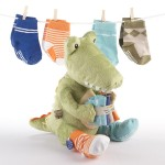 """Croc in Socks"" Plush Toy and Baby Socks Gift Set (Green)"
