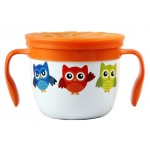 """""""Gobble n Go"""" Kids' stainless Steel Snack Cup with Slotted Silicone Top - White Owl"""