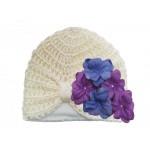 Cream Tiny Turbans with Lavender Purple Small Geraniums