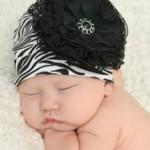 Black White Zebra Print Hats with Black Lace Rose