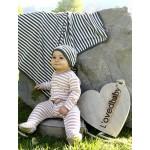 Organic Swaddling Blanket -Gray/Beige Stripe