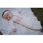 Organic Swaddling Blanket -Mauve/Beige Stripe