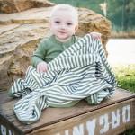 Organic Swaddling Blanket -Sage/White Stripe