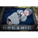 Organic Gown - Gray/Beige Stripe