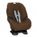 Brown with Blue Stitching Toddler Car Seat Cover
