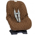 Brown with Pink Stitching Toddler Car Seat Cover