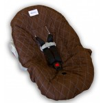 Brown with Blue Stitching Infant Car Seat Cover