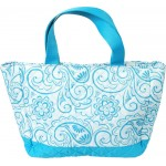 Personalized Aqua Paisley Small Quilted Tote/Diaper Bag