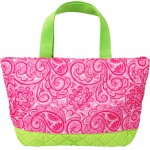 Personalized Hot Pink Paisley Small Quilted Tote/Diaper Bag