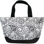 Personalized Black and White Paisley Small Quilted Tote/Diaper Bag