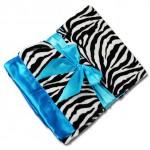 Personalized Zebra Minky/Turquoise Satin Minky Receiving Blanket