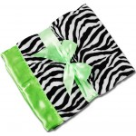Personalized Zebra Minky/Lime Green Satin Minky Receiving Blanket