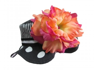 Black White Dot Sun Hats with Orange Raspberry Large Peony