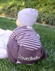 Organic Gl'oved-Sleeve™ Bodysuit  -Lavender/Eggplant Stripe