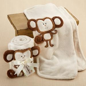 """Hug Me Monkey"" Plush Velour Baby Blanket"