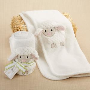 """Love Ewe Lamb"" Plush Velour Baby Blanket"