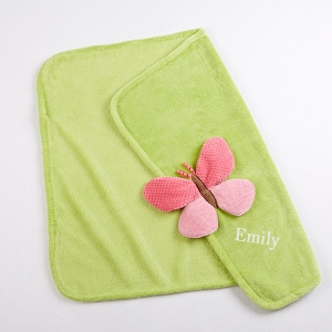 """Butterfly"" Plush Velour Baby Blanket (Personalization Available)"