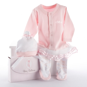 """Big Dreamzzz"" Baby Ballerina Two-Piece Layette Set in ""Studio"" Gift Box (Personalization Available)"