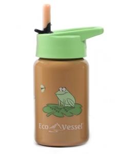 """""""Scout"""" Kids' Stainless Steel Bottle w/Straw Top 13oz/400ml - Orange Frog"""