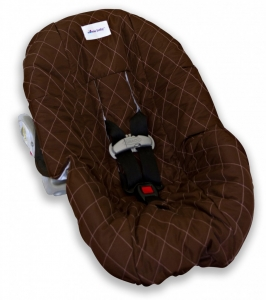 Brown with Pink Stitching Infant Car Seat Cover