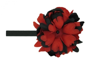Black Flowerette Bursts with Black Red Small Peony